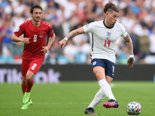 IMPRESSIVE: Leeds United's England international midfielder Kalvin Phillips, right, during Wednesday night's Euro 2020 semi-final against Denmark at Wembley. Photo by LAURENCE GRIFFITHS/POOL/AFP via Getty Images.