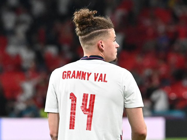 HISTORY BOY - Kalvin Phillips of Leeds United paid tribute to his late grandmother Val Crosby after helping England to a 2-1 Euro 2020 semi-final win over Denmark at Wembley. They now face Italy in the final on Sunday. Pic: Getty