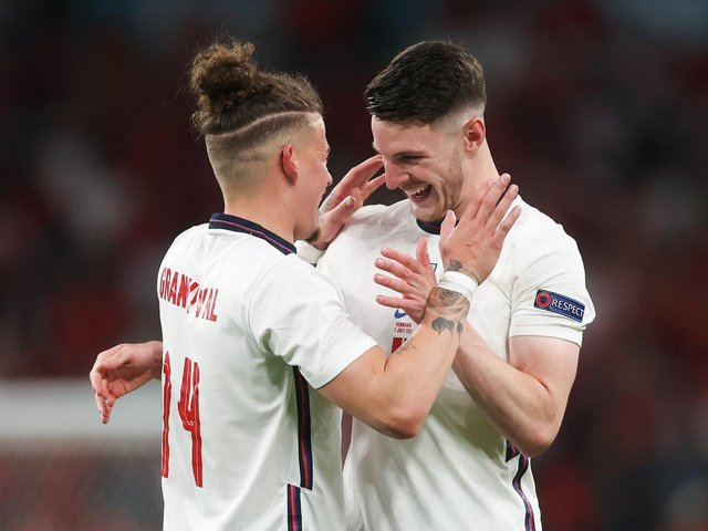 GAME CHANGERS: Leeds United's Kalvin Phillips, left, and West Ham's Declan Rice, right, after helping England to the Euro 2020 final. Photo by Carl Recine - Pool/Getty Images.