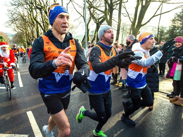 Kevin Sinfield during his first 7 in 7 challenge to raise money for the Motor Neurone Disease Association last year.