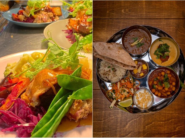 Vegetarian food from Meat Is Dead (left) and Manjit's Kitchen (right) on Kirkstall Road