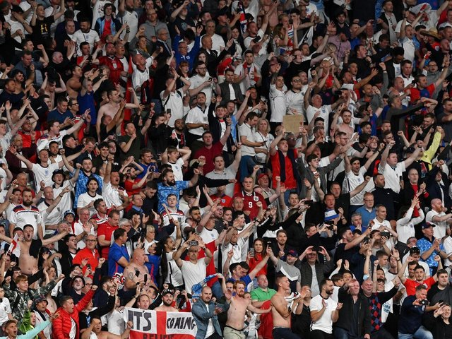 PARTY TIME: For England's fans at Wembley after Wednesday night's victory against Denmark in the Euro 2020 semi-final in which Leeds United's Kalvin Phillips excelled. Photo by Justin Tallis - Pool/Getty Images.