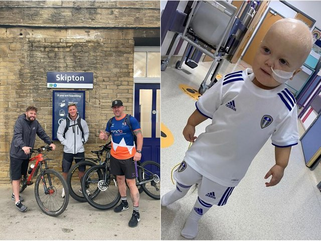 (Left to right) Gavin Adkin, Paul Brown and Keiran Hickman, who will take on a gruelling bike ride in memory of Paul's son Arlo Brown