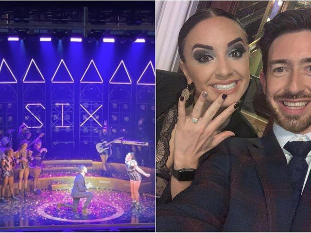 Andy McGuire popped the question to girlfriend Natalie Pilkington on stage at Leeds Grand Theatre.