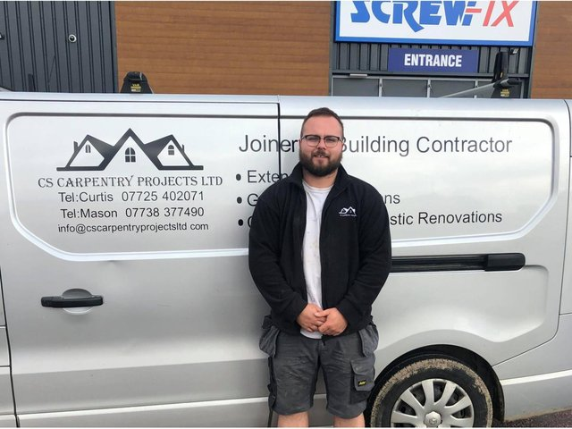 Curtis Sidebottom, 26, owns CS CARPENTRY PROJECTS LTD based out of Pudsey.