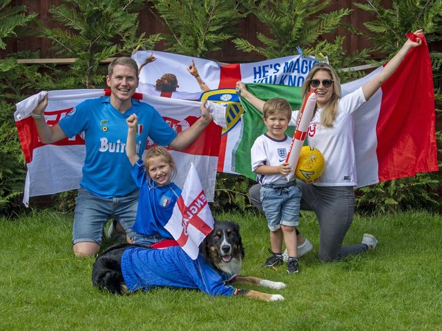 Avid football fans Daniel Furniss, Italian wife Carlotta, and their children Francesca and Federico, are torn between who they want to win in the Euro 2020 final at Wembley. Picture Tony Johnson