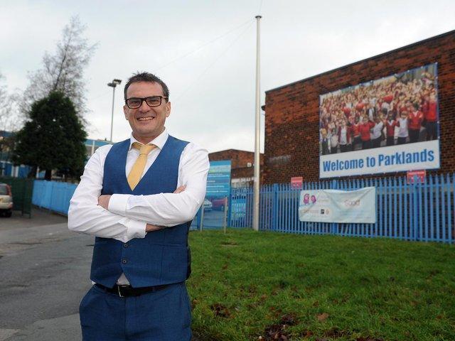 Chris Dyson outside Parklands Primary School.