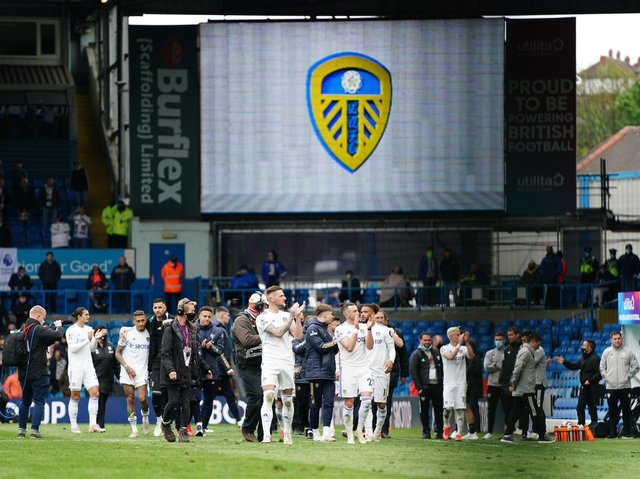 Leeds United salute the crowd at Elland Road. Pic: Getty