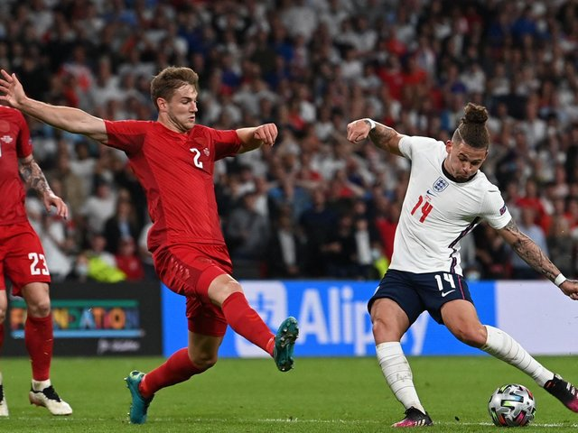 ATTEMPT: Kalvin Phillips fires in a shot at goal for England during Wednesday night's Euro 2020 semi-final against Denmark at Wembley. Photo by PAUL ELLIS/POOL/AP via Getty Images.