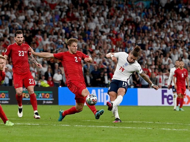 RUNNING MAN - Leeds United's Kalvin Phillips recorded the second furthest tally for distance covered in a game at Euro 2020 against Denmark at Wembley. Pic: Getty