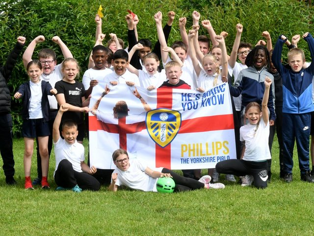 """""""He's magic you know"""". Pupils at Kalvin Phillips' former primary school are his biggest fans."""
