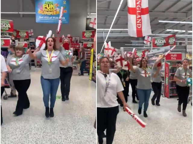 Asda Middleton staff showing their support for the Three Lions ahead of England v Italy at Euro 2020 (photo and video: Rachel Cunningham).