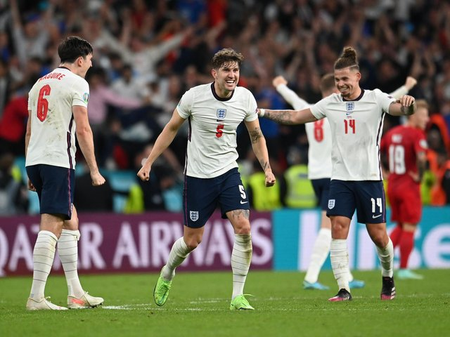 PRAISE: From England international centre-back John Stones, centre, for Leeds United's Three Lions star Kalvin Phillips, the 'Yorkshire Pirlo', right. Photo by Andy Rain - Pool/Getty Images.