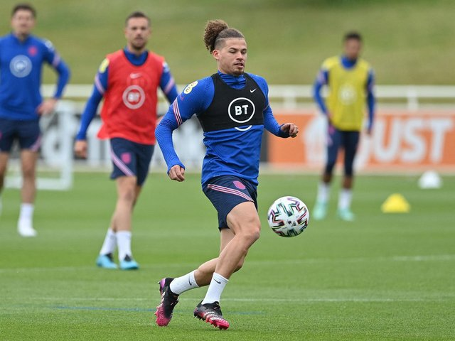 Leeds United's Kalvin Phillips trains with England. Pic: Getty
