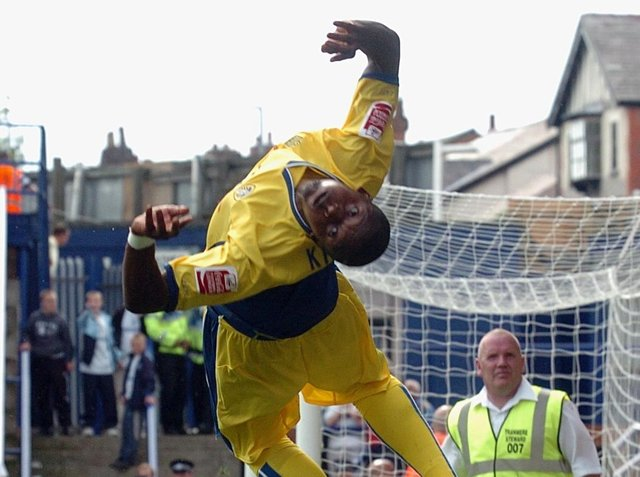 Tresor Kandol celebrates his winning goal against Tranmere Rovers in August 2007. PIC: Tony Johnson
