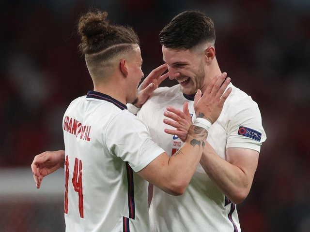 England's Kalvin Phillips and Declan Rice embrace at Wembley. Pic: Getty