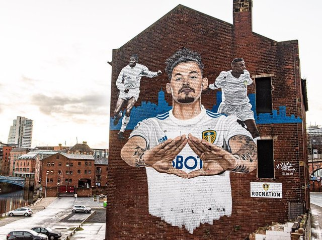 Leeds United midfielder Kalvin Phillips' mural by The Calls. Pic: LUFC