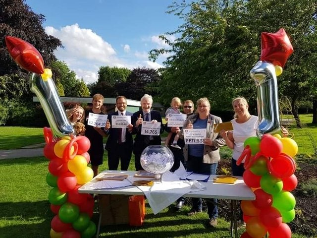 The lottery's first anniversary draw in Pudsey Park, where a total of 1,280 in Pudsey Pounds were awarded