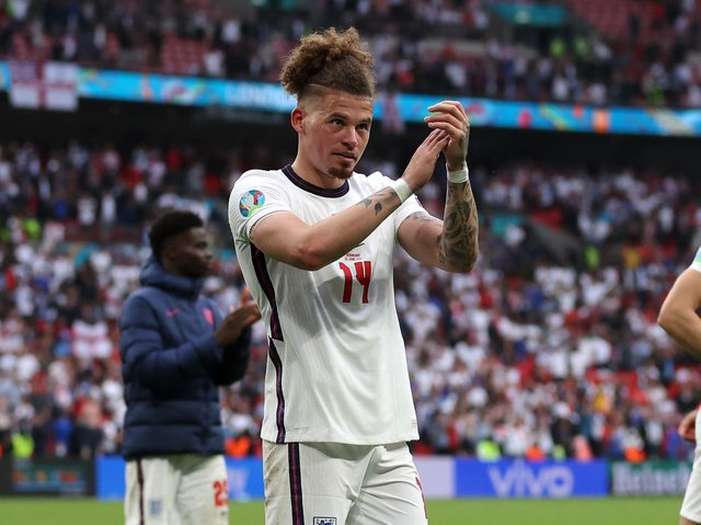 Leeds United's Kalvin Phillips salutes the England crowd. Pic: Getty
