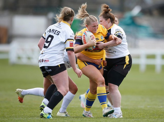 Leeds Rhinos' Zoe Hornby on the charge against York. Picture by Ed Sykes/SWpix.com.