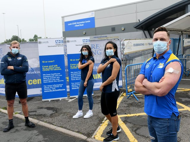 Members of the Leeds Rhinos staff at the Leeds Vaccination Centre at Elland Road where they had their vaccines. L to r...  Matt Prior,  Elle Frain (Leeds Rhinos womens), Brie Grierson (Leeds Rhinos netball) and James Donaldson.