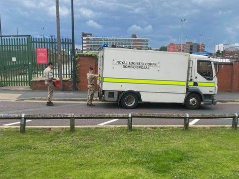 Military bomb disposal teams at Crown Point in Leeds.