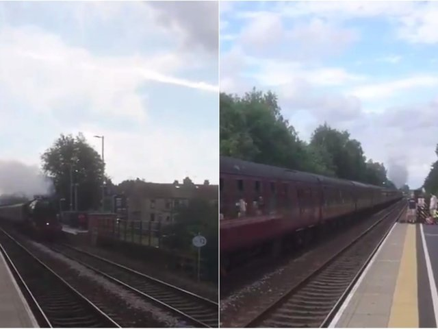The Flying Scotsman passing through Micklefield Railway Station (credit: Christopher Casey).
