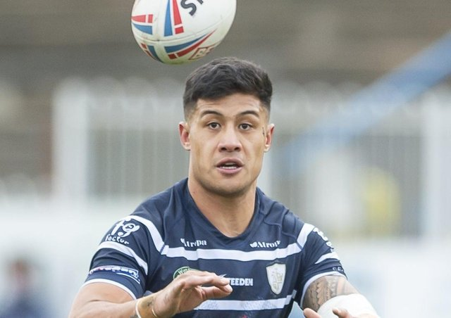 Fa'amanu Brown scored a hat-trick of tries for Featherstone Rovers in the 32-10 Championship win at Widnes Vikings. Picture: Allan McKenzie/SWpix.com.