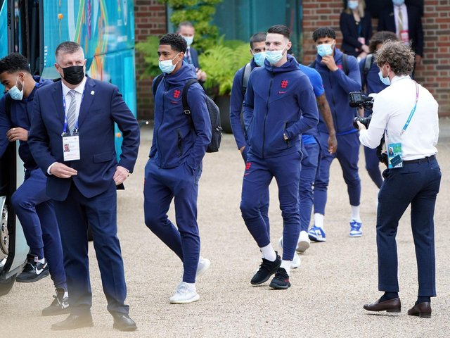 England players board the bus before making their way to Wembley.