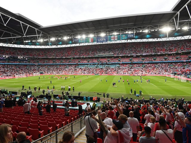 HUGE SUPPORT: For Leeds United midfielder Kalvin Phillips and England at Wembley. Photo by FACUNDO ARRIZABALAGA/POOL/AFP via Getty Images.
