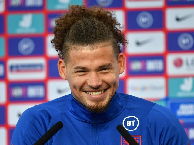 HUGE SUPPORT: For Leeds United's Kalvin Phillips from Whites stars past and present ahead of Sunday's Euro 2020 final against Italy at Wembley. Photo by JUSTIN TALLIS/POOL/AFP via Getty Images.