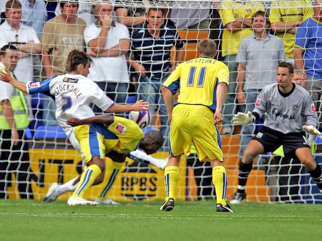 LATE DRAMA: Tresor Kandol, left, gets down low to head home an 89th-minute winner upon Leeds United's first ever league clash at Tranmere Rovers in August 2007. Photo by PA.