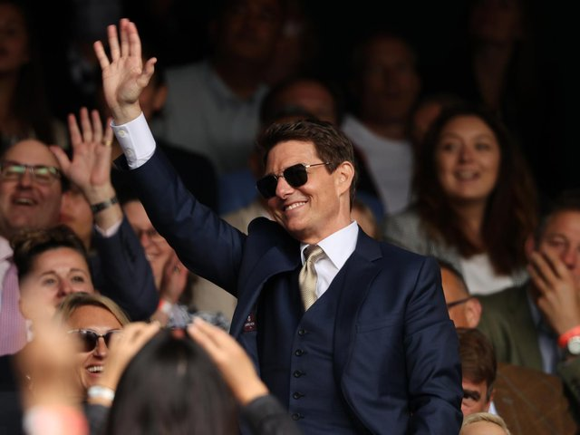 MESSAGE: For Leeds United midfielder Kalvin Phillips and the rest of the England squad from superstar actor Tom Cruise, pictured in the crowd at Wimbledon on Saturday. Photo by Clive Brunskill/Getty Images.
