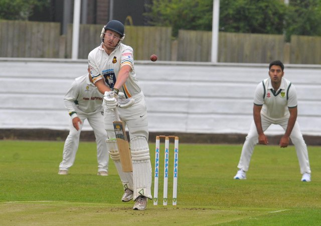 Charlie Best of Pudsey St Lawrence is beaten by this ball from Wrenthorpe bowler Al-Mustafa Rafique. Picture: Steve Riding.