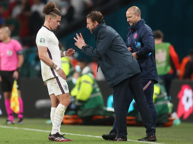 AMAZING TOURNAMENT - Gareth Southgate has heaped praise on Leeds United's Kalvin Phillips ever since his England debut last September. Pic: Getty