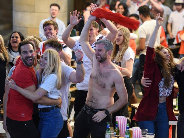 Celebrations at Left Bank Leeds as England score first. Picture Guzelian.