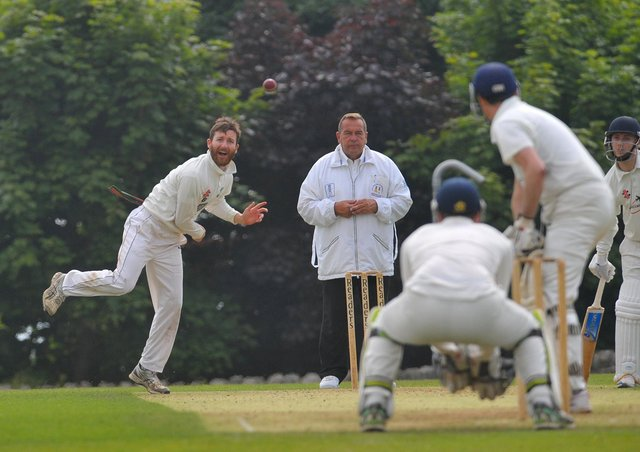Stephen Brown, who took two wickets in Otley's win over Aire Wharfe Division 1 rivals Rawdon. Picture: Steve Riding.
