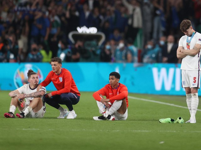England players react at Wembley following the full-time whistle. Pic: Getty