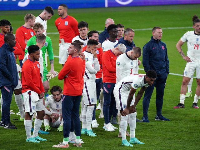 The England squad following the match.