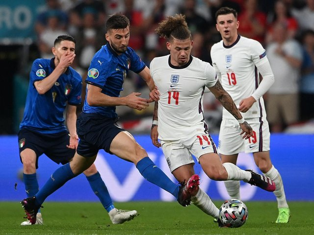 Leeds United's Kalvin Phillips in action for England against Italy. Pic: Getty