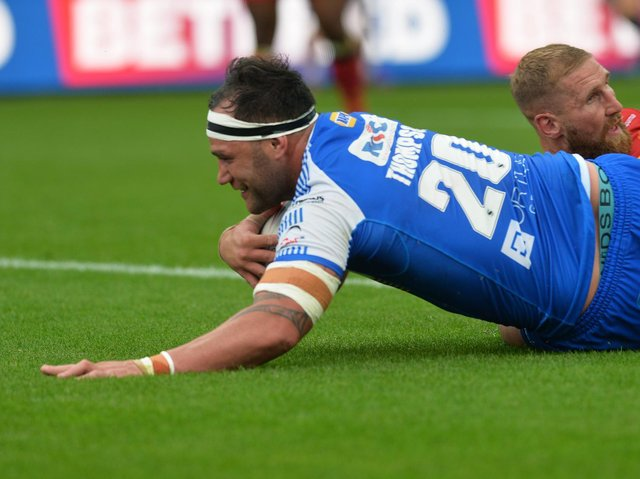 Rhinos' Bodene Thompson scored agianst Catalans, but also picked uop a three-match ban. Picture by Jonathan Gawthorpe.