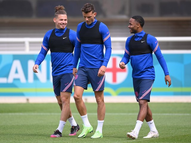 Leeds United's Kalvin Phillips in England training. Pic: Getty