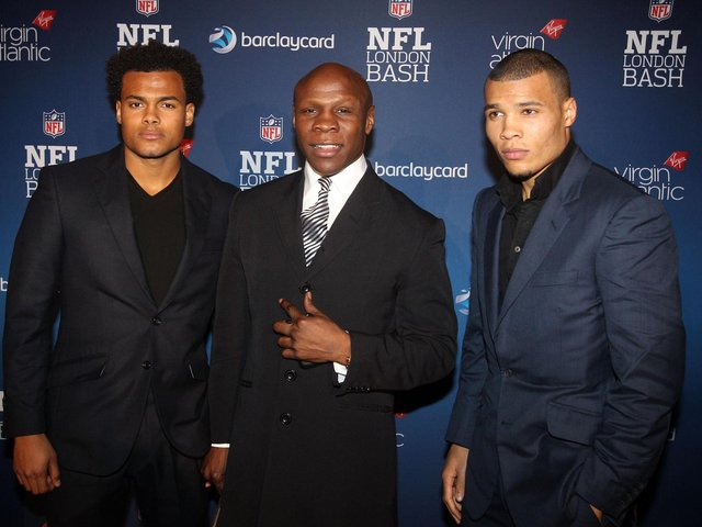 File photo dated 27/10/12 of Chris Eubank with two of his sons Sebastian Eubank (left) and Chris Eubank Junior (right) arriving at the NFL Pre-game Party at Under The Bridge at the Chelsea Football Ground in London. Sebastian Eubank, the third oldest of boxer Chris Eubank's five children, died on Friday morning in Dubai, days before his 30th birthday (photo: PA).