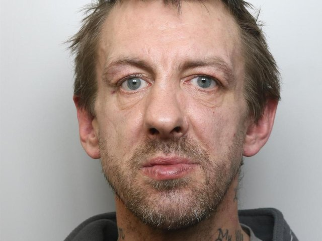 Andrew Thomas was jailed for three years at Leeds Crown Court for biting his partner and assaulting police officers.