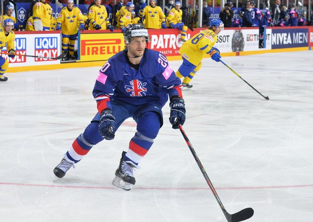 Jonathan Phillips, in action for GB againsT Sweden at this year's World Championships in Riga. Picture: Dean Woolley.
