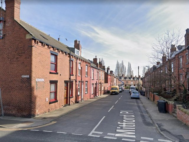 The blaze broke out in a first floor bedroom in Milford Place in Armley. Photo: Google