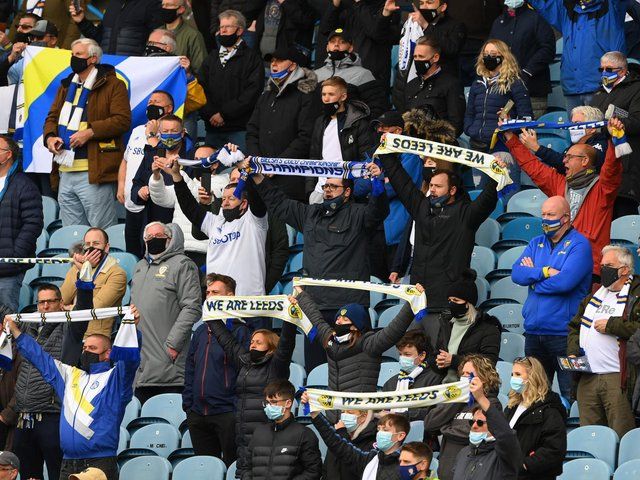 BACK SOON: Leeds United's supporters in the Elland Road stands at the 2020-21 Premier League season finale against West Brom. Photo by Stu Forster/Getty Images.