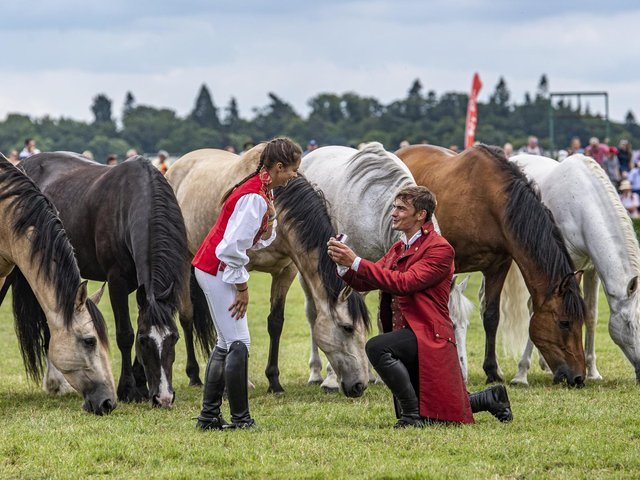 Ben Atkinson proposes to Georgie Jackson in the main ring during his performance with Atkinson action horses from Eastrington near Goole. Picture Tony Johnson