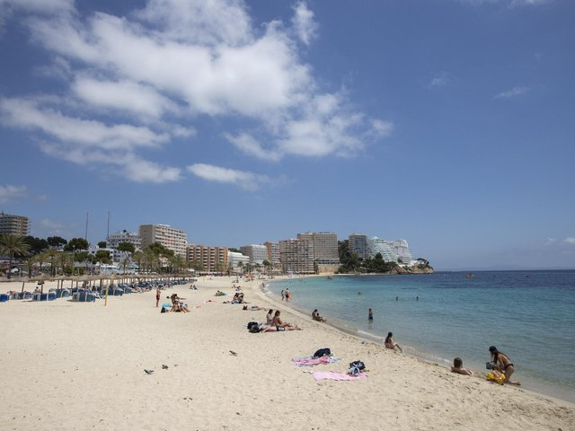 Magaluf beach at Calvia in Mallorca which has been moved to the amber list for travel.