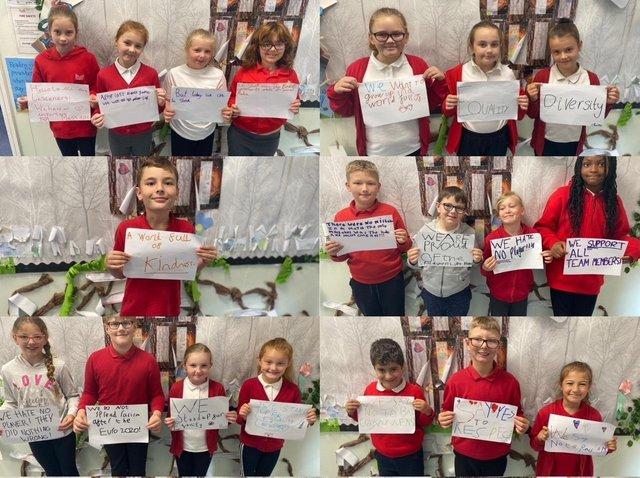 The year four pupils Willow at Grimes Dyke Prmary School, Swarcliffe, with their messages of support to the England team.